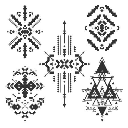 tribales: Elementos tribales del vector, colecci�n �tnica, stile azteca, arte tribal, dise�o tribal aislados sobre fondo blanco