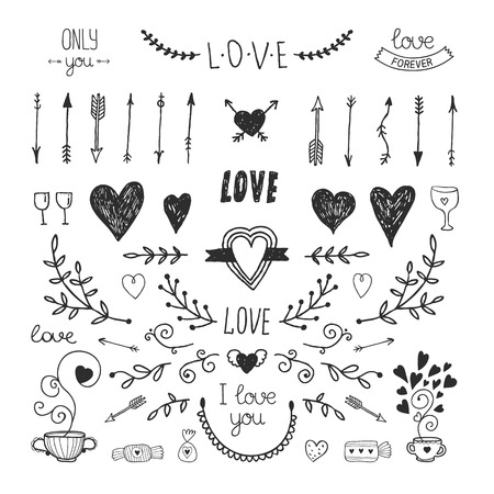 corazon: Amor elementos vintage decorativos, colección de dibujado a mano con la flecha, corazón, tatuaje, flor, el té y las letras. Conjunto amor Doodle, ilustración vectorial para el diseño Vectores
