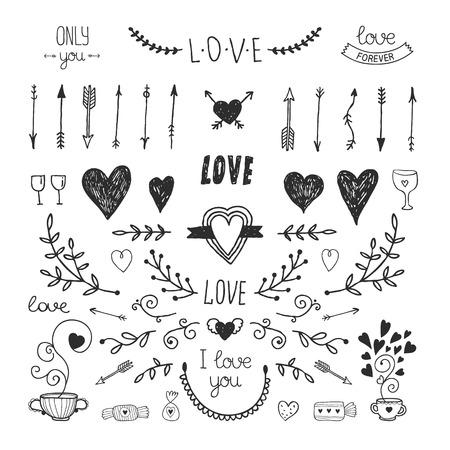 Liefde decoratieve vintage elementen, met de hand getekend collectie met pijl, hart, tatoo, bloem, thee en belettering. Doodle liefde set, vector illustratie voor het ontwerp