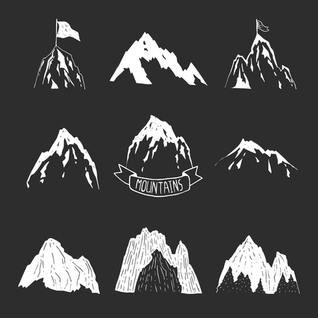 Mountains vector collection, hand drawn mountain set with ribbon, tree and flag for design logo and more. Mountains isolated on black background
