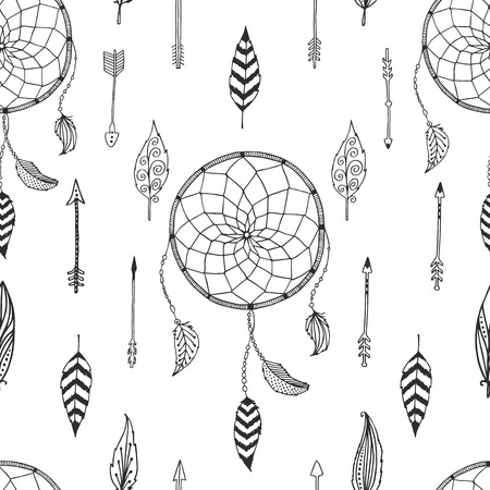 Vector arrow background, retro pattern, etnic doodle collection, tribal design. Ink hand drawn illustration with indian arrows, feathers and dreamcatcher on white background