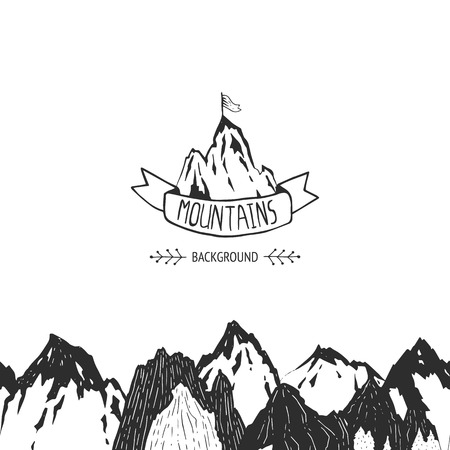 Mountains background, hand drawn mountain seamless pattern Vector