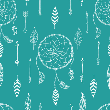 indian weapons: Ink hand drawn illustration with indian arrows, feathers and dreamcatcher on green background Illustration