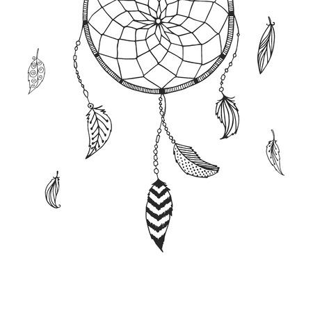 atrapasueños: Dreamcatcher dibujado mano aisladas sobre fondo blanco