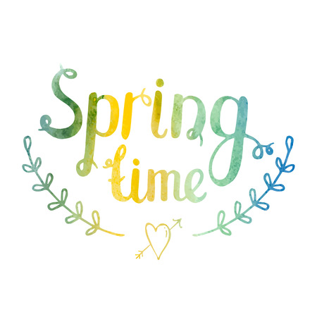 spring time: Hand drawn watercolor lettering Spring time isolated on white background