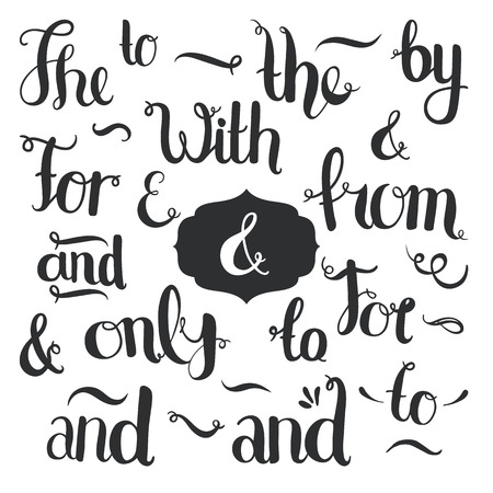 Vector hand drawn ampersands and catchwords. The, with, from, and, only, by, for, of. Hand lettering with decorative design elements isolated on white background Imagens - 39216000