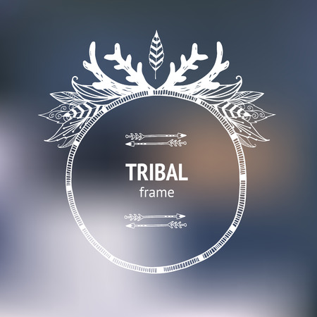 hand drawn tribal frame with arrows, indian feathers and horns on blurred background Vector