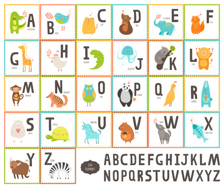 Cute zoo alphabet with cartoon animals isolated on white background Stock Illustratie