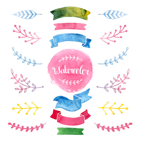 watercolor collection with ribbons, label, floral elements, feathers Ilustrace