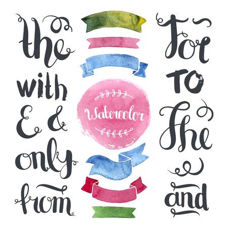 수채화 리본, 라벨 및 손 편지 앰퍼샌드 및 표어 손으로 그린 장식 컬렉션 일러스트