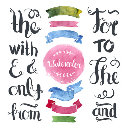 Hand drawn decoration collection with watercolor ribbons,label and hand letters ampersands and catchwords Vectores