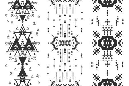 indios americanos: Vector de fondo geométrico, modelo inconsútil tribal, étnica colección, estilo azteca aislado en fondo blanco