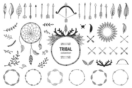 weapons: Hand drawn tribal collection with bow and arrows, feathers, dreamcatcher, horns, frame and border, floral elements for design logo, invitation and more. Vector tribal, ethnic, aztec, hipster elements isolated on white background Illustration