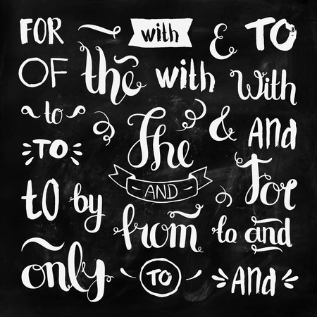 hand drawn ampersands and catchwords on chalkboard