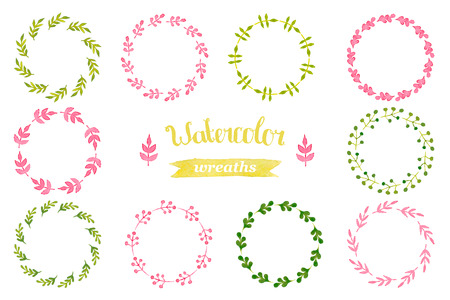 Watercolor set of wreaths, frame, border, ribbon, label, floral elements