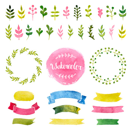 watercolor collection with ribbons, label, floral elements, wreaths Vectores