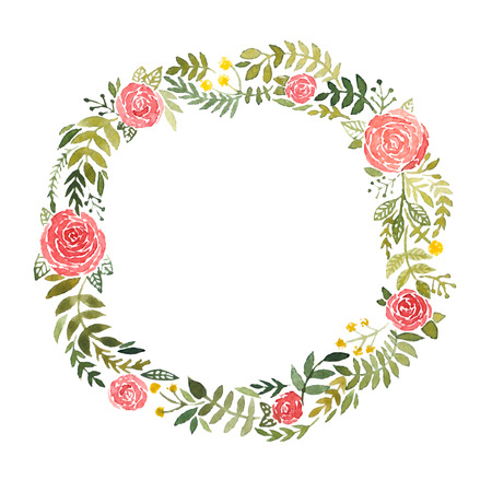 Watercolor wreath with roses and leaves isolated on white background