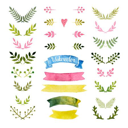 aquarel collectie met linten, lauweren, bloemen elementen, kransen Stock Illustratie
