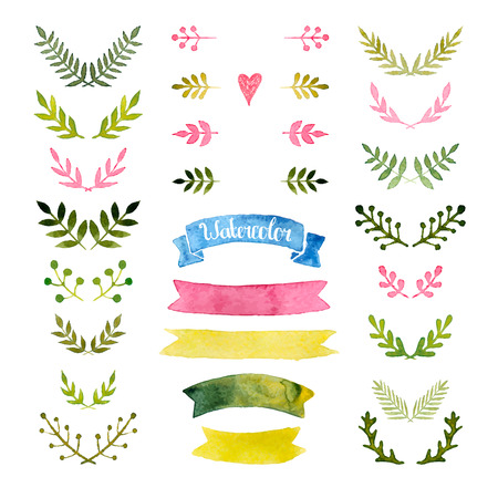 watercolor collection with ribbons, laurels, floral elements, wreaths Vectores