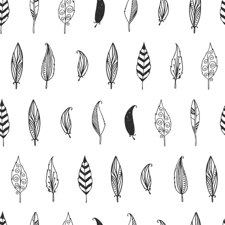 etnic: Vector feather background, retro pattern, etnic doodle collectio Illustration
