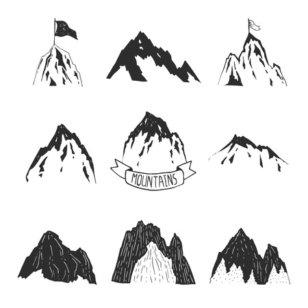 Mountains vector collection, hand drawn mountain set Ilustrace