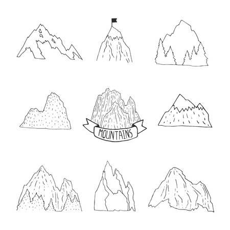 hill top: Mountains vector collection, hand drawn mountain set Illustration