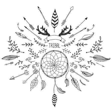 Hand drawn tribal collection with bow and arrows, feathers, drea Stock Illustratie