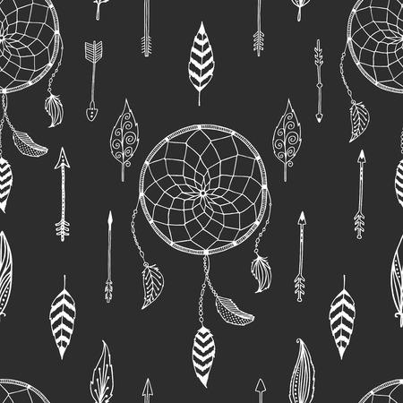 Vector arrow background, retro pattern, etnic doodle collection