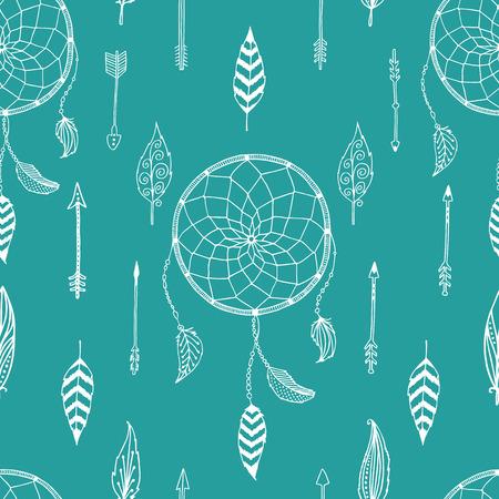 Vector pijl achtergrond, retro patroon, etnic doodle collectie, tribal design. Inkt hand getrokken illustratie met Indische pijlen, veren en dreamcatcher op witte achtergrond Stock Illustratie
