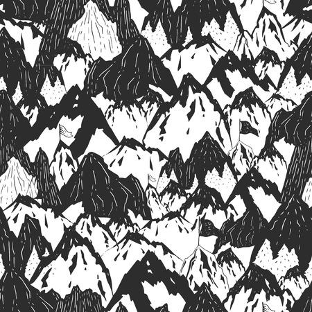 Bergen achtergrond, met de hand getekende berg naadloos patroon met boom en vlag, vector inktillustratie