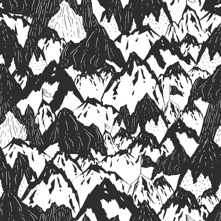 Mountains background, hand drawn mountain seamless pattern with tree and flag, vector ink illustration