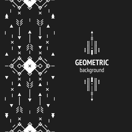 tribal: Vector Geometric background, Tribal seamless pattern, ethnic collection, aztec stile on black background