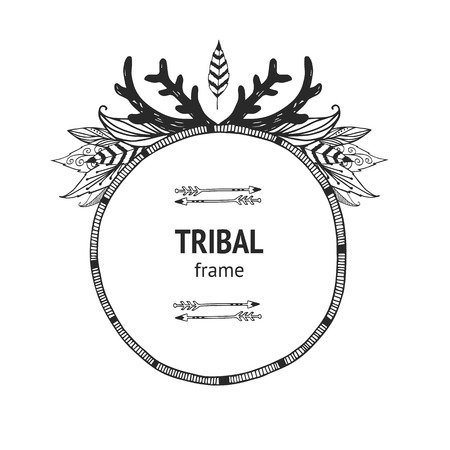 Vector tribal frame with arrows, indian feathers and horns, ethnic frame, navajo style