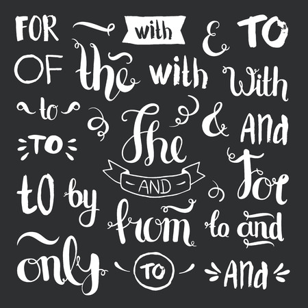 ampersand: Vector hand drawn ampersands and catchwords. The, with, from, and, only, by, for, of. Hand lettering with decorative design elements on black background Illustration