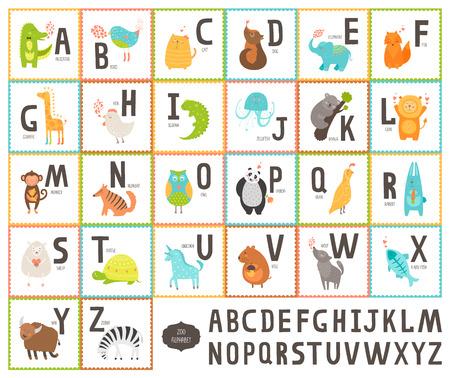 animaux zoo: Mignon alphabet vecteur zoo avec des animaux de bande dessin�e Illustration