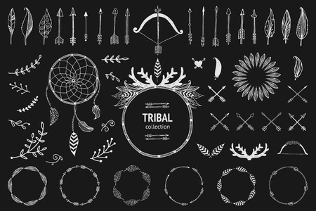 Hand drawn tribal collection with bow and arrows, feathers, dreamcatcher, horns, frame and border, floral elements for design logo, invitation and more. Vector tribal, ethnic, aztec, hipster elements isolated on black background Ilustrace
