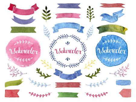 리본, 라벨, 꽃 요소, 깃털 벡터 수채화 모음. 흰색 배경에 고립 된 손으로 그린 수채화 디자인 요소