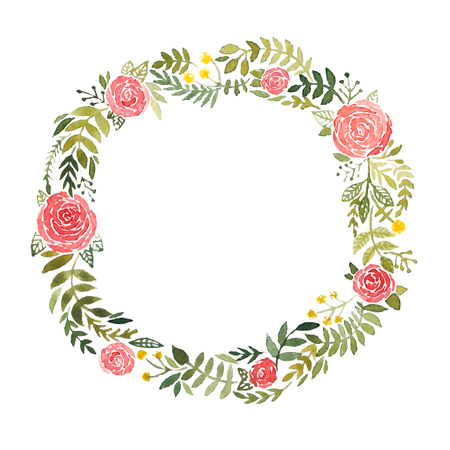 loose: Watercolor wreath with roses and leaves isolated on white background