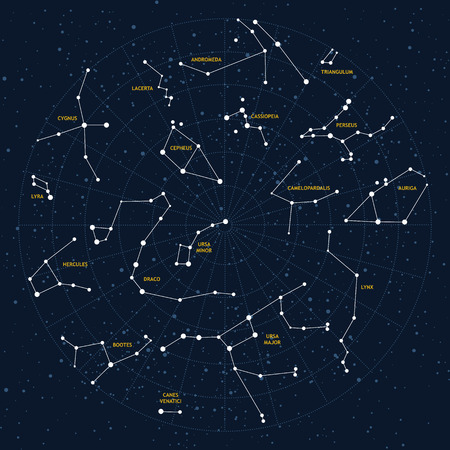 Vector sky map, constellations, stars, andromeda,lacerta, cygnus, lyra, hercules, draco, bootes, minor, major, lynx, auriga, camelopardalis, perseus, triangulum, cassiopeia, cepheus Illustration