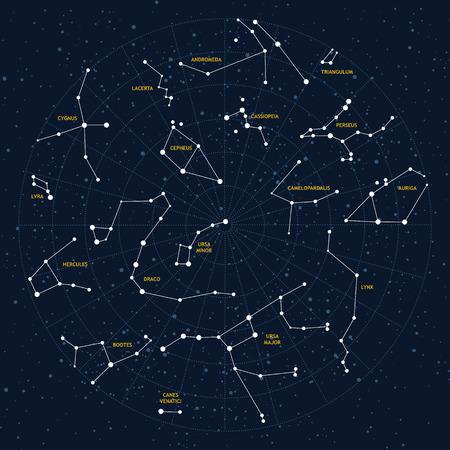 Vector sky map, constellations, stars, andromeda,lacerta, cygnus, lyra, hercules, draco, bootes, minor, major, lynx, auriga, camelopardalis, perseus, triangulum, cassiopeia, cepheus Vectores