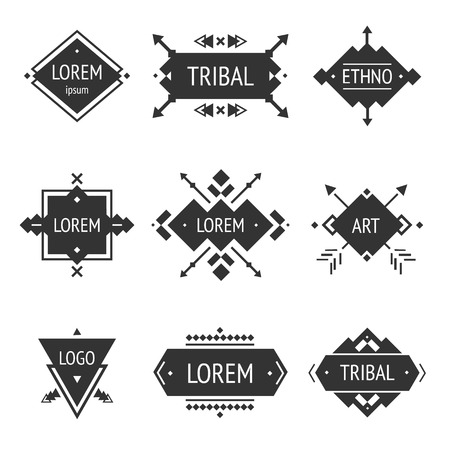 Vector Tribal elements, ethnic collection Çizim