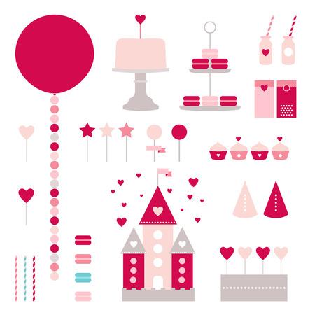 princesa: Colección de cumpleaños feliz Vectores