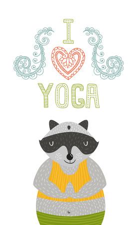 Yoga label with cute meditator raccoon