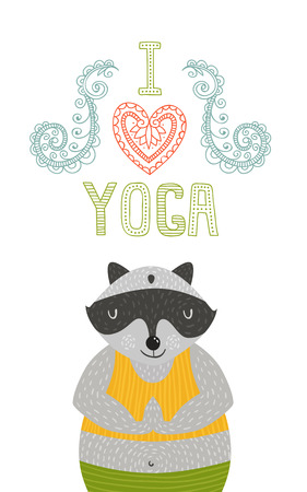 meditator: Yoga label with cute meditator raccoon