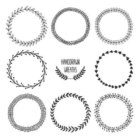 wreath collection: Set of vector handdrawn wreaths, nature, floral doodle collection. Decoration elements for design invitation, wedding cards, valentines day, greeting cards