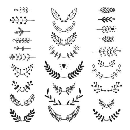 decoration: Set of vector handdrawn laurels, wreath