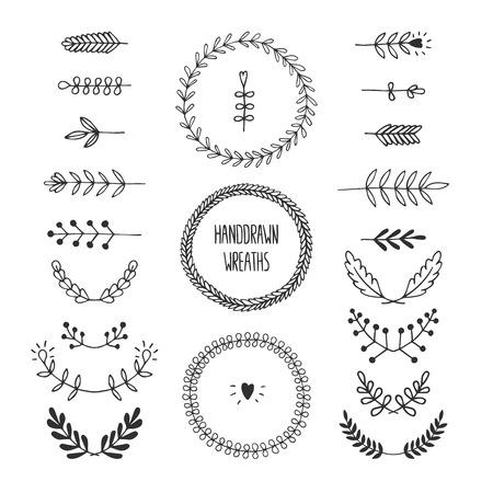 Set of vector handdrawn laurels and wreaths Ilustrace