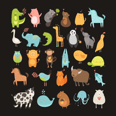 Cute animals collection. Vector pig, rabbit, monkey, lion, sheep, bird,goose, panda, koala, chicken, fox, cow, jellyfish, cat, hen, dog, fox, elephant, crocodile, unicorn, giraffe, owl, turtle, horse Ilustração