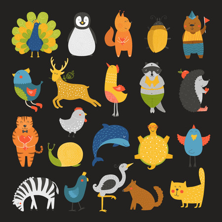 tortoise: Cute animals collection, baby animals, animals vector. Vector cat, peacock, penguin, squirrel, beetle, bear, bird, deer, raccoon, hedgehog, tiger, dolphin, heron, tortoise, zebra, dog, snail isolated on black background. Cartoon animals set Illustration