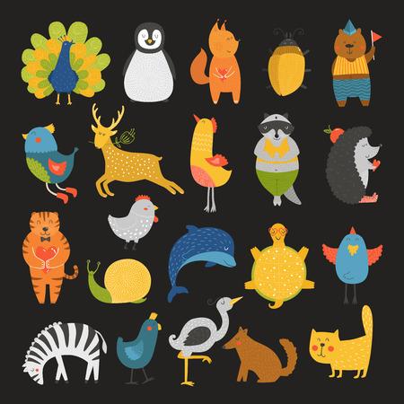 Cute animals collection, baby animals, animals vector. Vector cat, peacock, penguin, squirrel, beetle, bear, bird, deer, raccoon, hedgehog, tiger, dolphin, heron, tortoise, zebra, dog, snail isolated on black background. Cartoon animals set Ilustrace